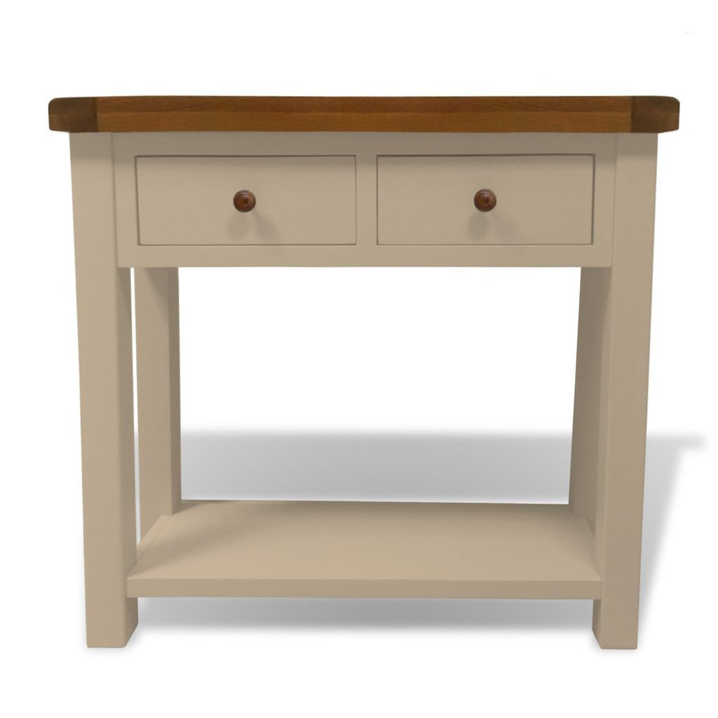 Charming Thornton Painted Console Table With Oak Top