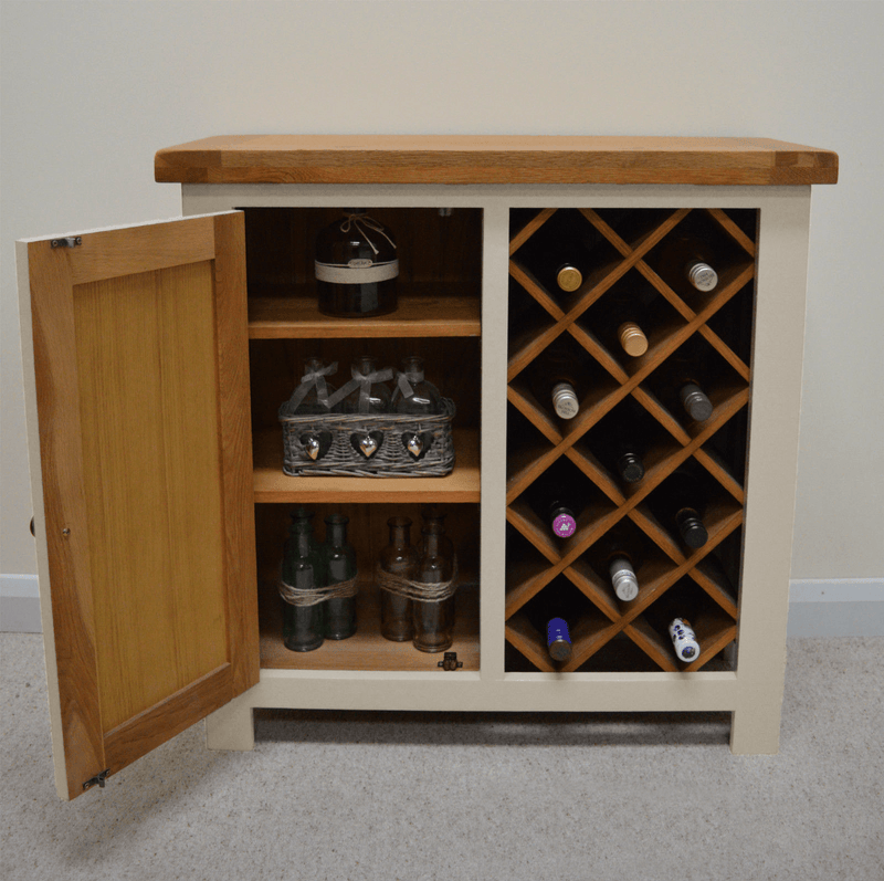 Thornton Painted Oak Wine Rack With Storage