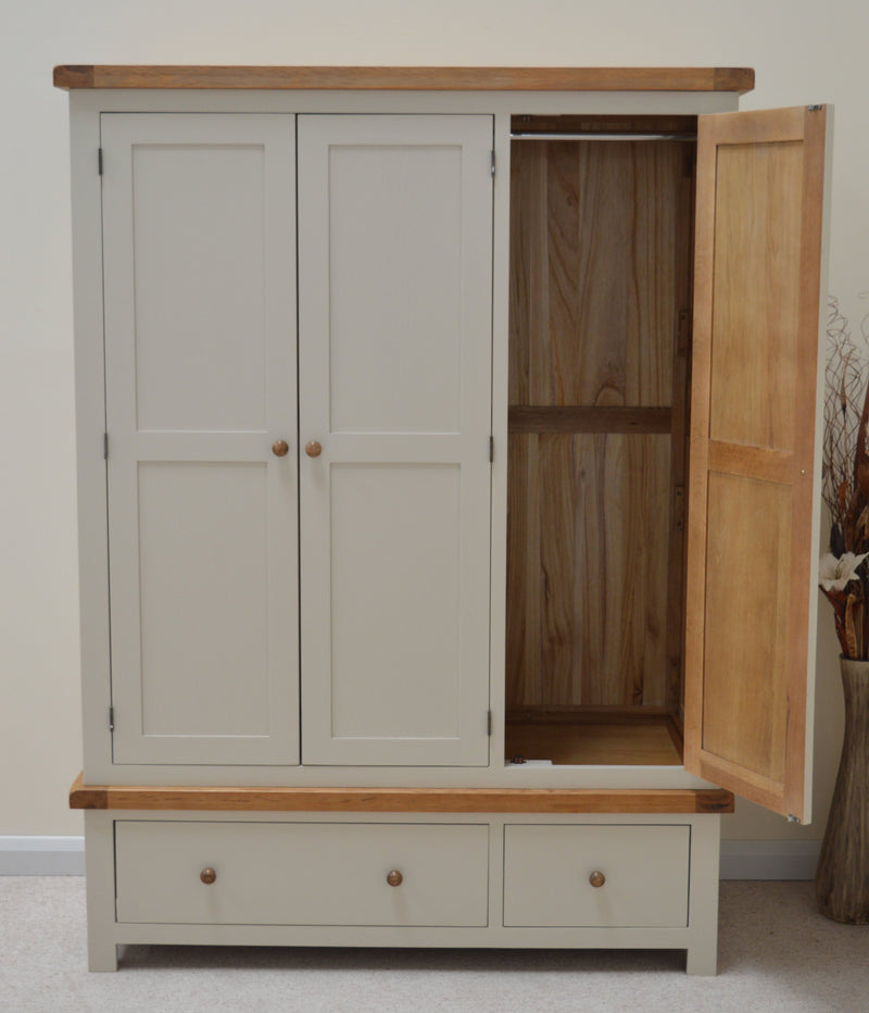Thornton Painted Triple Three Door Wardrobe with Storage Drawers