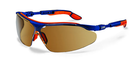 Uvex i-vo Safety Spectacles with Blue/Orange Frame & Brown STC Sunglare Lens