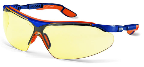 Uvex i-vo Safety Sepctacles with Blue/Orange Frame and Amber Lens