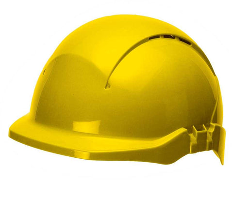 Concept Red. Peak Vented Yellow Safety Helmet