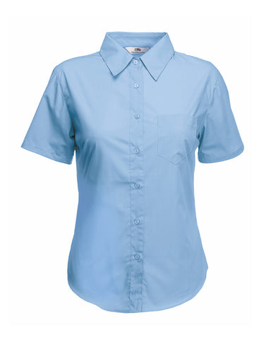 Mid Blue Ladies Short Seeve Shirt