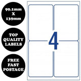 10 pages - A4 Self Adhesive Address Labels Laser Inkjet Print Mailing Sticker [4 Per Page]