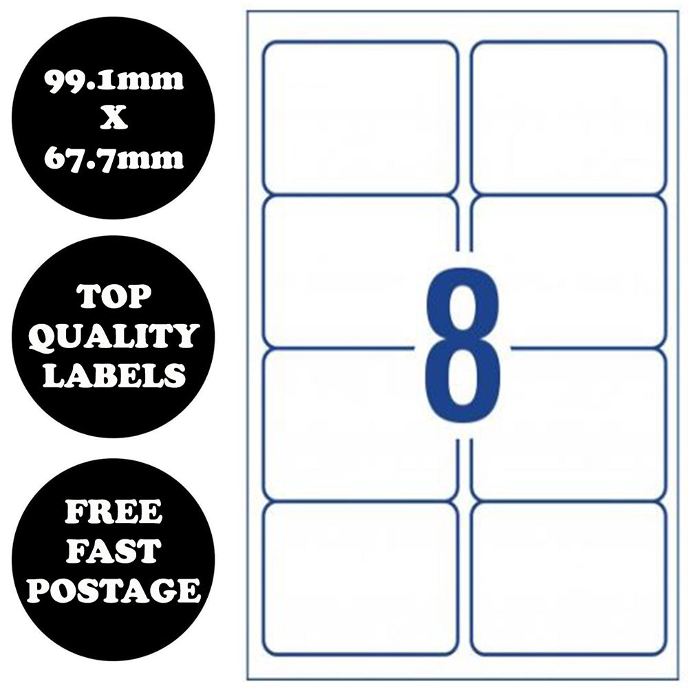 10 pages - A4 Self Adhesive Address Labels Laser Inkjet Print Mailing Sticker [8 Per Page]
