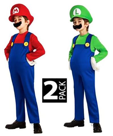 Super Mario Luigi Brothers Adult Hat Moustache 2 Pack