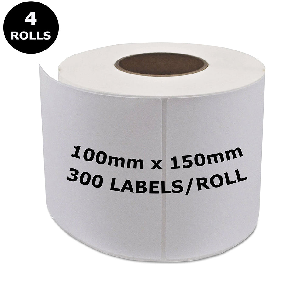 4 Rolls ZEBRA Direct Thermal Compatible Labels 100mm x 150mm 300 Labels/Roll