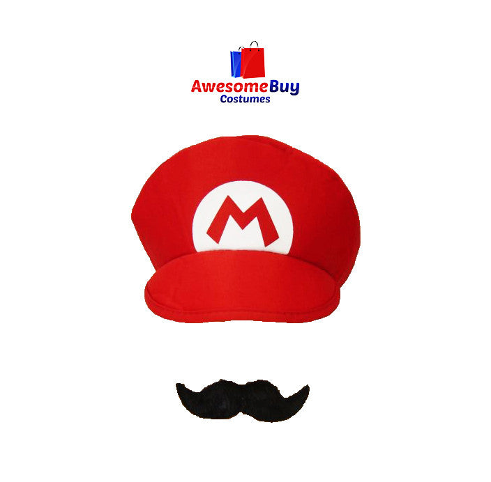 Super Mario Luigi Brothers Adult Hat Moustache