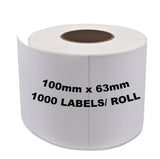 4 rolls ZEBRA Thermal Transfer Compatible Labels 100mm x 63mm 1000 Labels/Roll + Wax Resin Ribbon COMBO