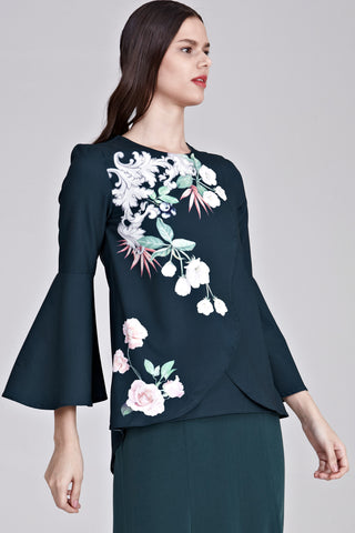 Yasmina Flute Sleeves Top with Placement Floral Print in Emerald Green