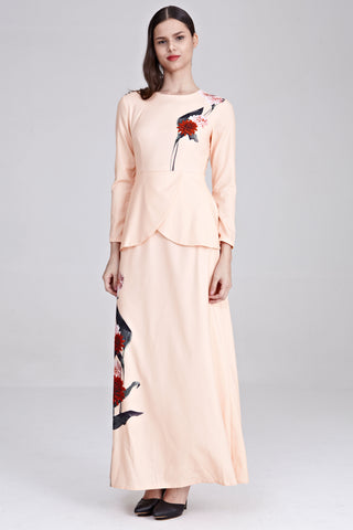 Heliza Peplum Dress with Placement Floral Print in Apricot