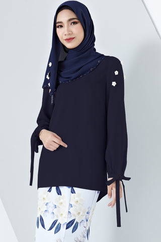 Aada Ribbon Sleeve Detail Top with Floral Embellishments in Navy Blue