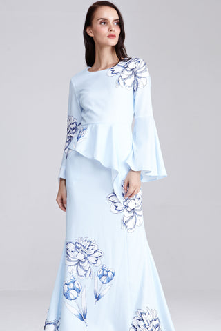 Zalna Asymmetrical Peplum Dress with Placement Floral Print in Light Blue