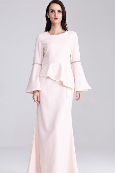 Adelina Flute Sleeves Dress in Pastel Peach