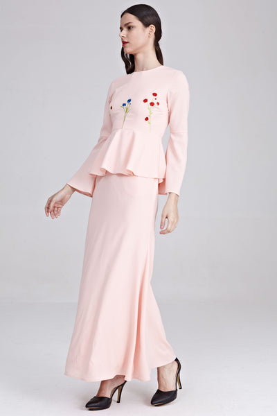 Almy Peplum Dress with Floral Embroidery in Pink