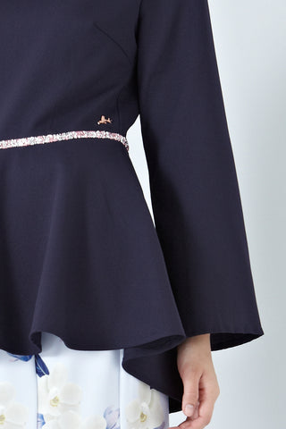 Adbera Flute Sleeves Top in Navy Blue