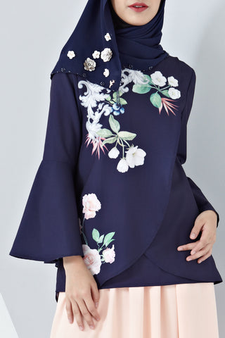 Yasmina Flute Sleeves Top with Placement Floral Print in Navy Blue