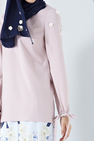 Aada Ribbon Sleeve Detail Top with Floral Embellishments in Dusty Pink