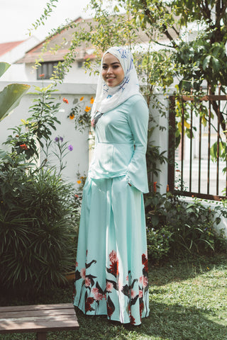 Heliza Maxi Skirt with Placement Floral Print in Mint