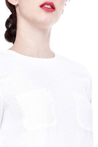 Hania Pocket Detail Top in Off-White