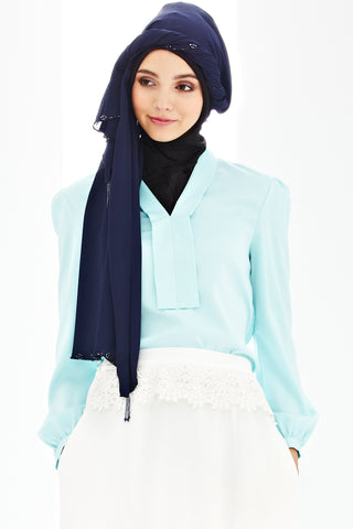 Alda Scarf in Navy Blue