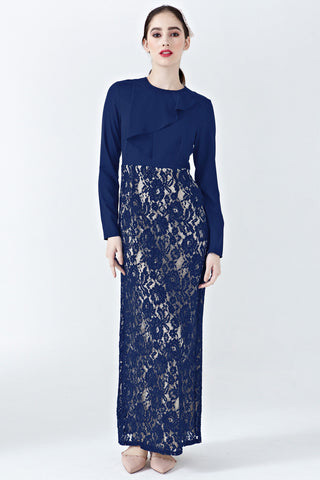 Iva Lace Dress with Ruffle Detail in Navy Blue