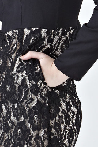 Iva Lace Dress with Ruffle Detail in Black