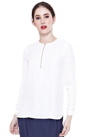 Aliya Long Sleeve Top with Front Zip in Off-White