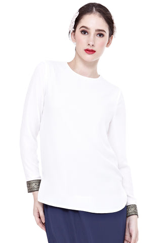 Mirah Long Sleeve Top with Cuff Embroidery in Off-White
