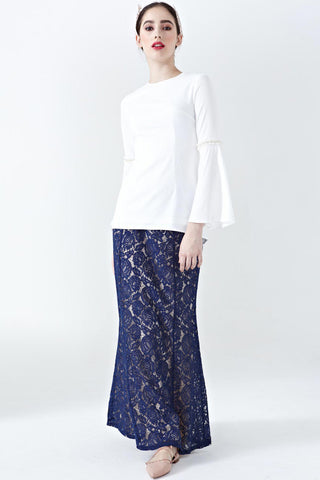 Eesha Lace Overlay Skirt in Navy Blue