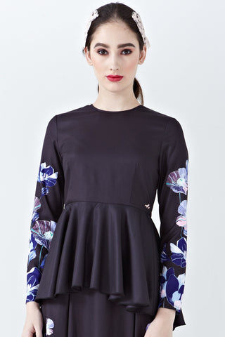 Elisya Peplum Top in Elina Placement Print