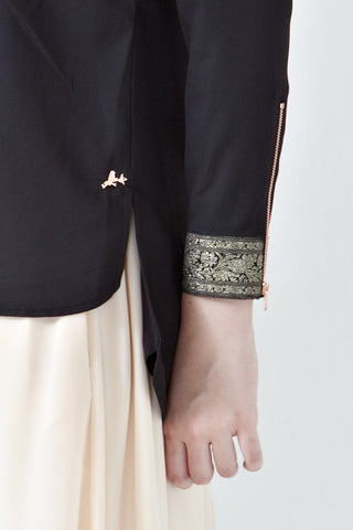 Mirah Long Sleeve Top with Cuff Embroidery in Black