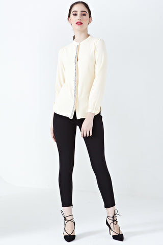 Celso Embellished Long Sleeve Top in Beige