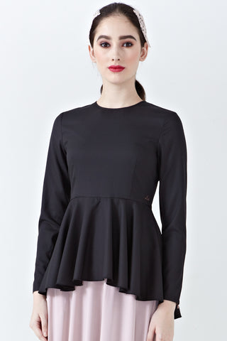 Elisia Long Sleeve Peplum Top in Black