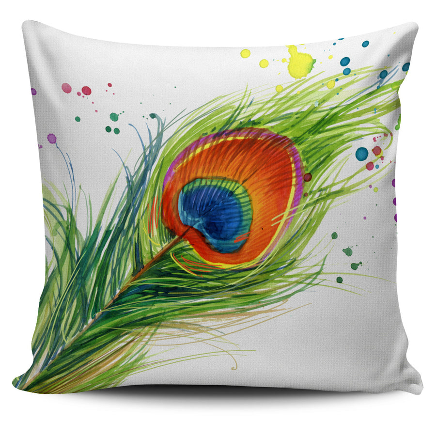 Peacock Paint Splatter Pillow Cover