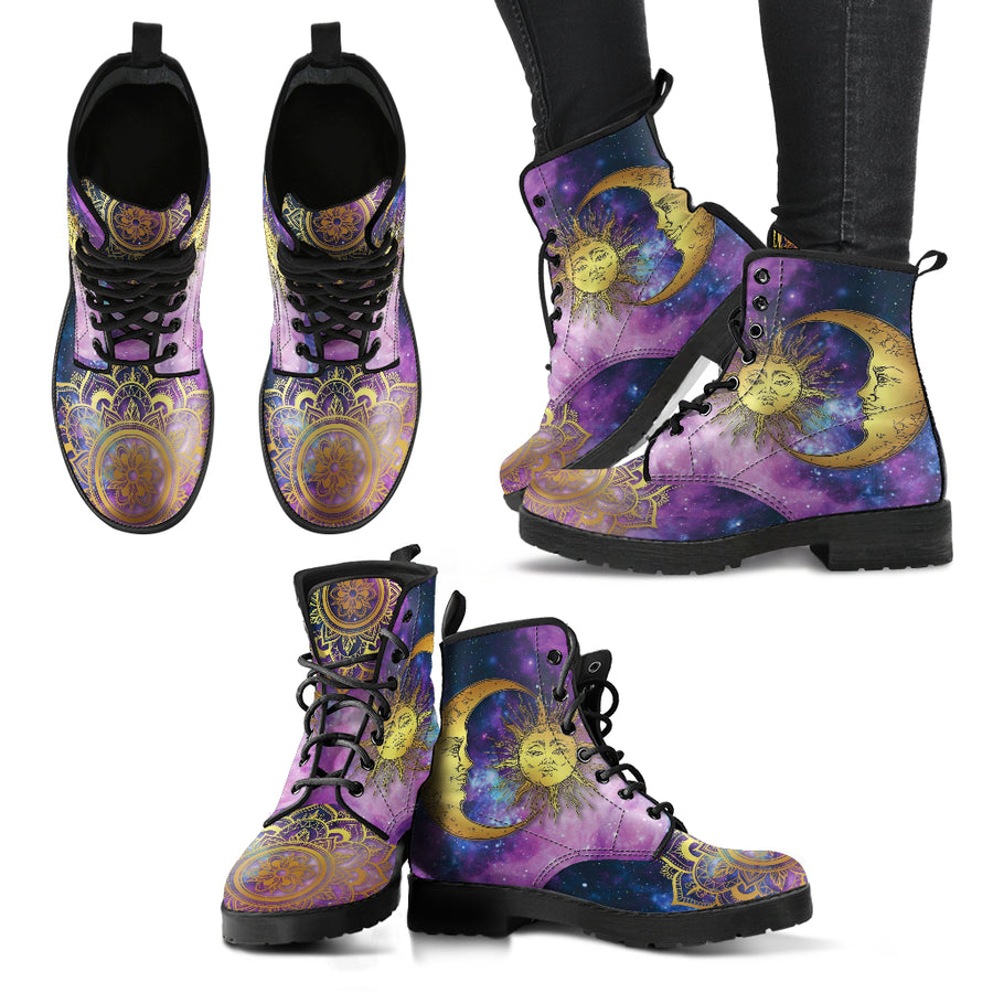 Sun and Moon Mandala Handcrafted Boots