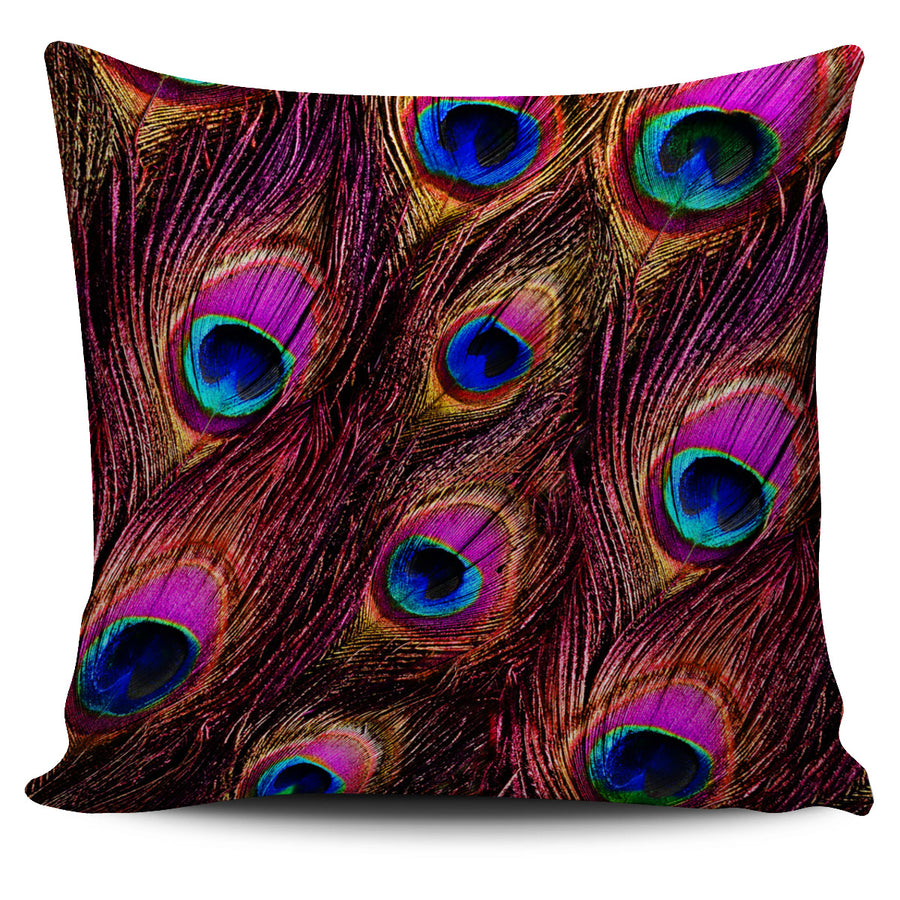 Pink Peacock Feathers Pillow Cover