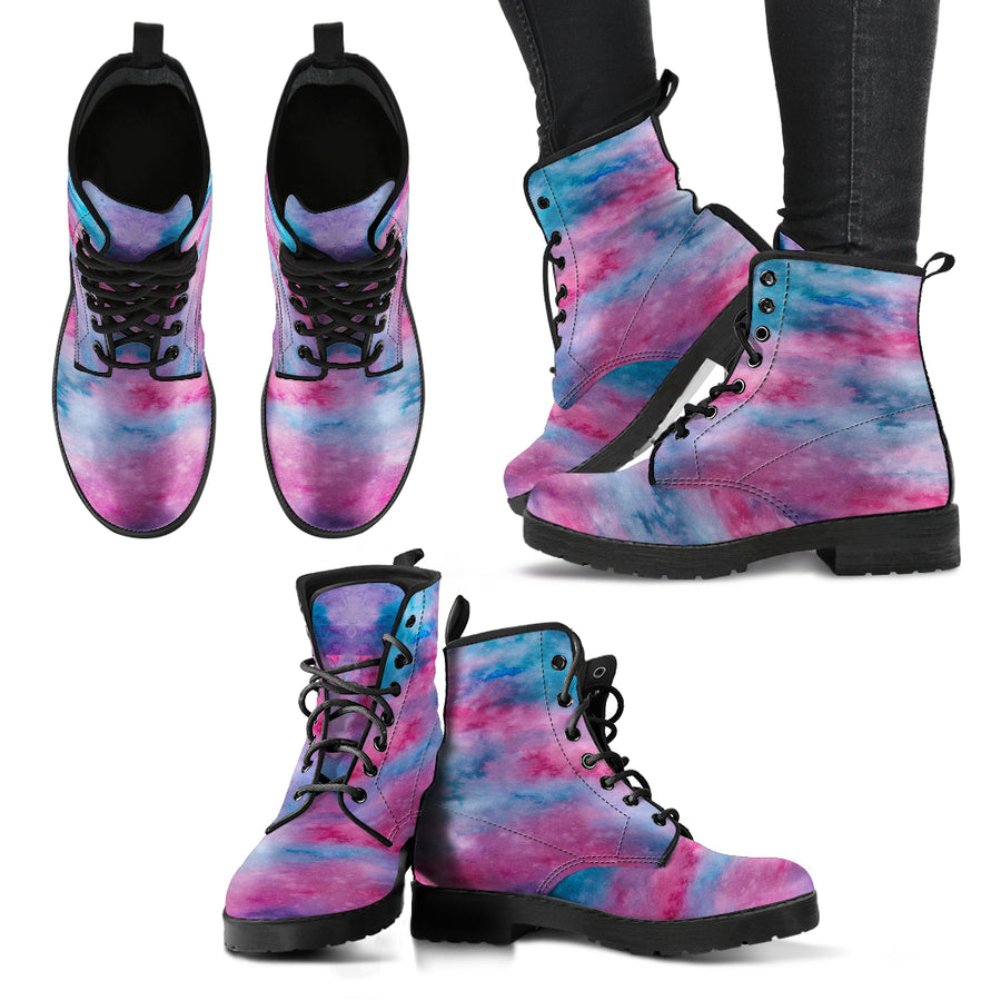 Watercolor Pink Womens Leather Boots