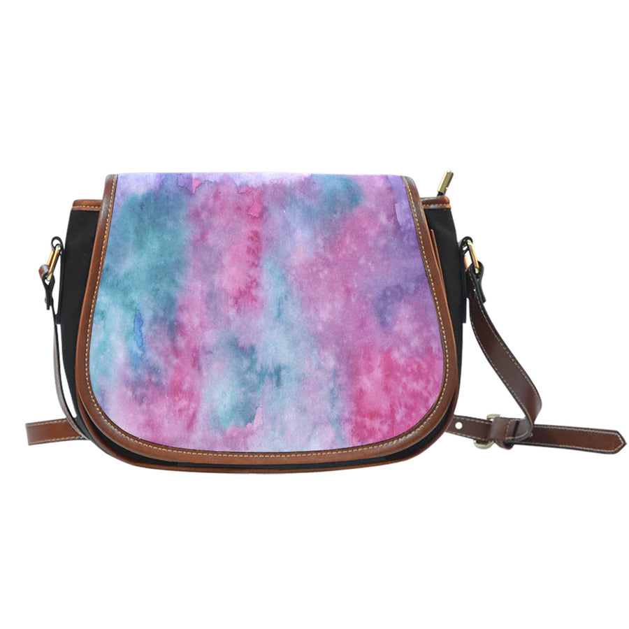 Watercolor Pink Canvas Saddle Bag