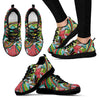 Funky Patterns in Greens - Women's Sneakers (Black)