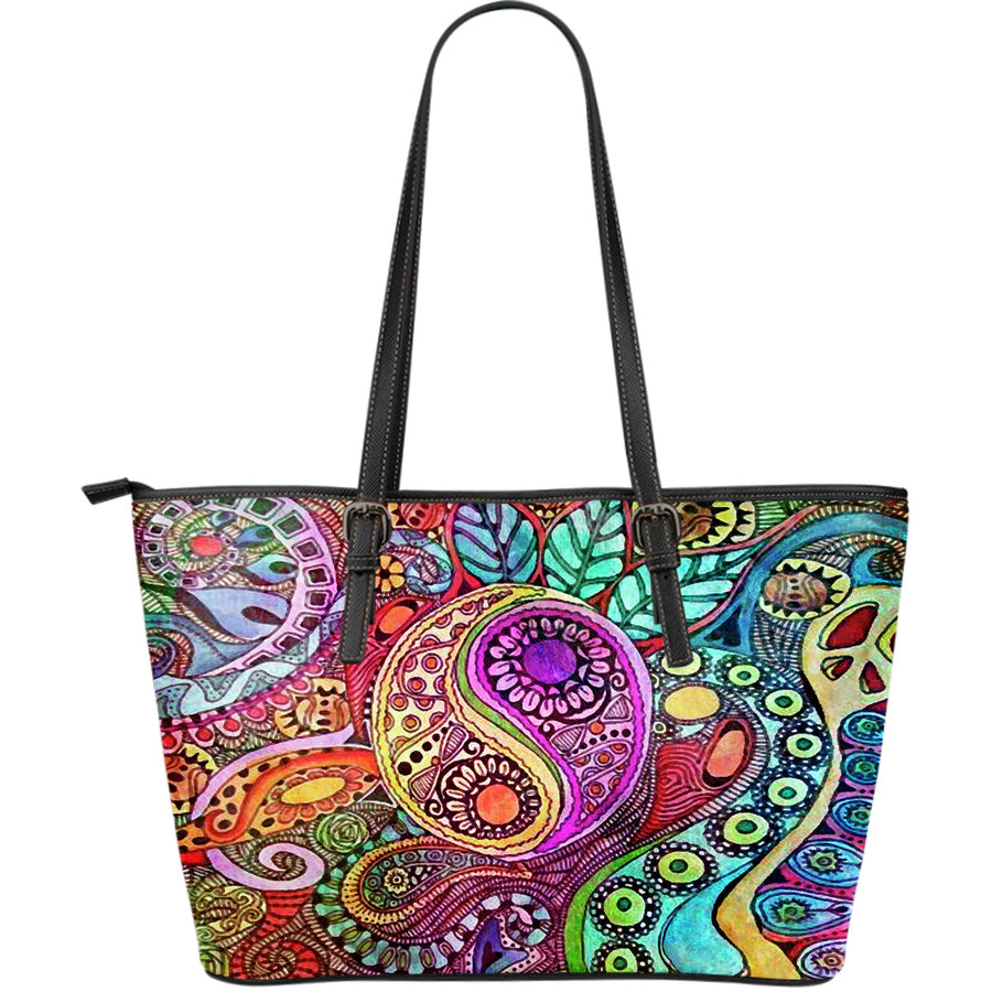 Nature's Balance Large Leather Tote Bag