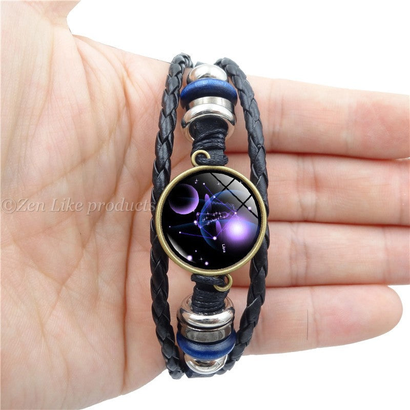 """Free"" Star Zodiac Pattern Leather Bracelet"