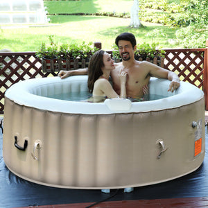 Portable Inflatable Bubble Massage Spa Hot Tub 4 Person Relaxing Outdoor