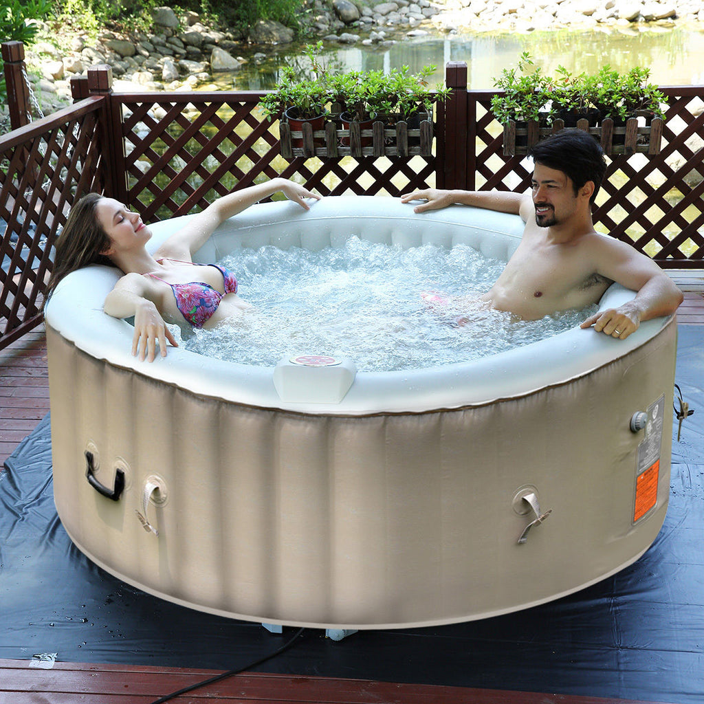Portable Inflatable Bubble Massage Spa Hot Tub 4 Person Relaxing ...