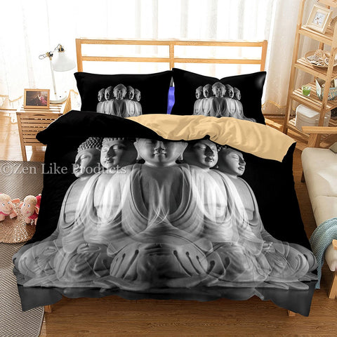 Black/White Buddha Bedding Set