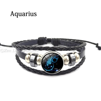 """FREE""  Metal Buckle Zodiac Glass Bracelet"