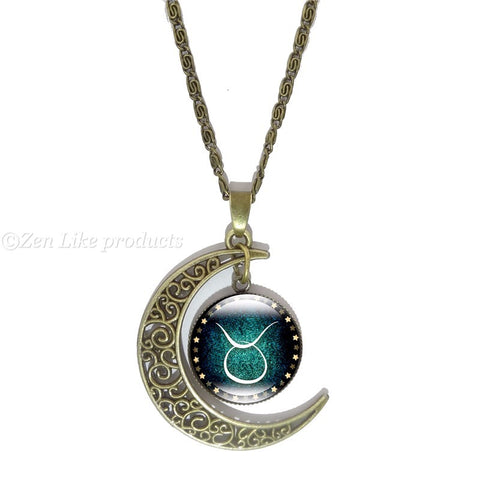 """Free"" Crescent Moon Zodiac Necklace"