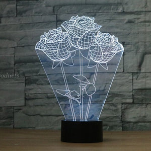Valentine's Day Rose 3D light