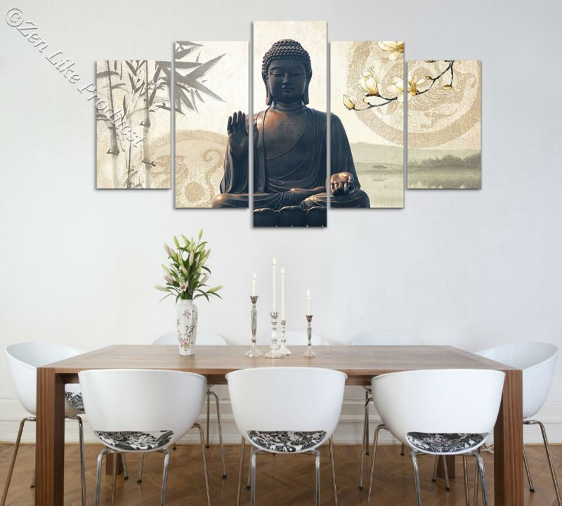 Bamboo Buddha Oil Painting