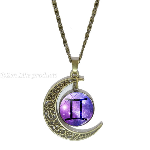 """Free"" Zodiac Vintage Crescent Moon Necklace"